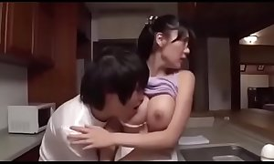 Miho Ichiki - Pretty big tits stepmom meets son'_s sexual needs in the kitchen