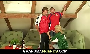 Party leads to threesome sex with hot blonde grandma
