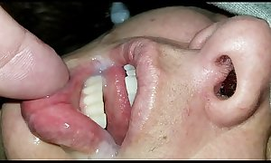 Cum in my wife's sleeping mouth pt. 2