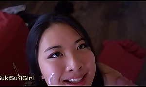 pov EPIC DEEPTHROAT Asian girl SUCKS his cock DRY