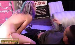 Teen babe bluehead masturbating with giant dildos