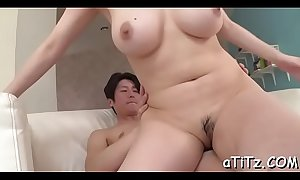 Sultry japanese arouses with blowjob and love melons fucking