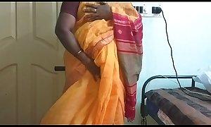 desi  indian horny tamil telugu kannada malayalam hindi cheating wife vanitha wearing orange colour saree  showing big boobs and shaved pussy press hard boobs press nip rubbing pussy masturbation