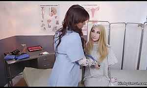 Blonde anal examed by Milf doctor