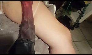 Amateur wife takes 14 inch bad dragon horse dildo