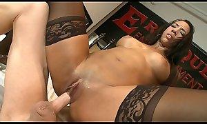 Ebony chick Sophia Fiore loves masturbates her big clit and good fucking
