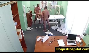 Slutty nurse enjoys a threeway with doctors