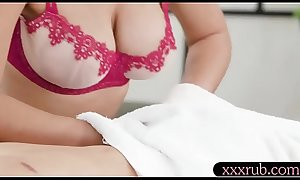 Sexy masseuse tit fucked and gets boned