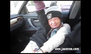 Homeless Chinese lady gets naked and gives head in car