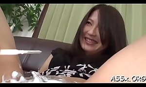 Rough double penetration for asian playgirl during threesome