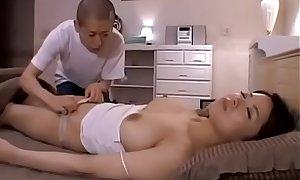Japanese sleeping mom Miki Sato and young boy (part 2) at SexXxBlis xxx video