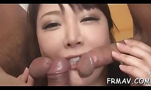 Sweet oriental darling gets lusty drilling for her furry slit