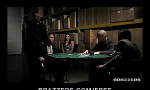Sex-crazed brunette tie the knot in underthings copulates fro donate husband's poker precept