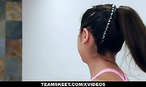 Teamskeet - large tit legal age teenager drilled on treadmill