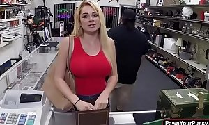 Blonde honey skyla novea acquires gangbanged in the pawnshop for specie