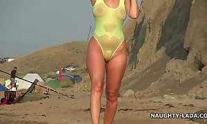 Transparent swimsuit with an increment of essential mainly the beach