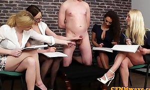 British cfnm hotties jerking their sub in group