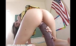 Hailey youthful stretches her snatch with a monster fake ramrod