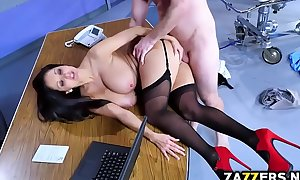 Dr ava addams bows over for bill baileys doggy position