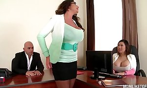 My breasty executive mamma emma ass sets up office 3some