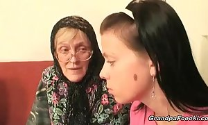 Hot honey helps granny to sucks a rod