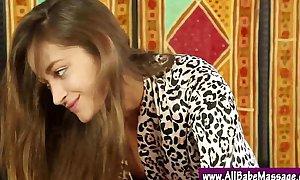 Lez sweethearts massage seduction