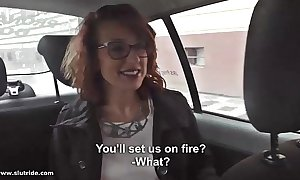 Redhead milf does tugjob, bj and bonks with taxidriver