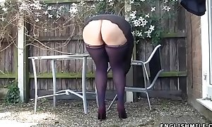 Stockings upskirt no pants hot arse uk milf