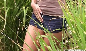 Tiny titted legal age teenager adriana masturbating in the garden