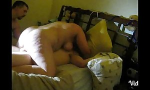 Cuckold filming horny white wife with lover making love.