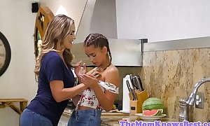 Les stepmom fingers stepteen on touching be transferred to Nautical galley