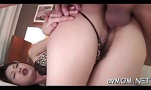 Asian mom spreads her legs and gets boned in her tight muff