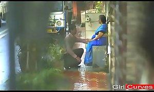 Yellow saree aunty romancing hot