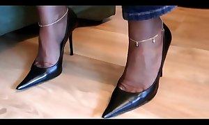 German MILF Mistress - Slave worship her high heels and nylon feet / with cumshot on her nylon soles - watch more on SweetNylonFeet.com