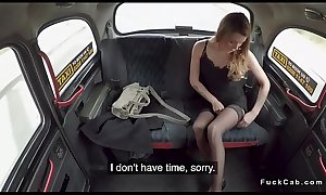Amateur in stockings licked in fake taxi