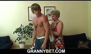 Old grandma swallows his big dick