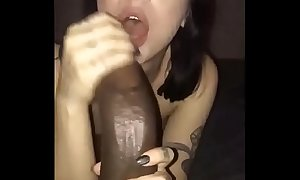 White girlfriend and big black monstrous cock