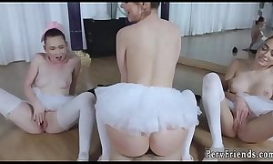 Chinese teen and milf teases Ballerinas