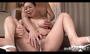 Guy strips horny milf in lingerie and finger bonks her taut cunt
