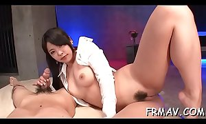Lusty love tunnel insertion and rubbing from japanese babe