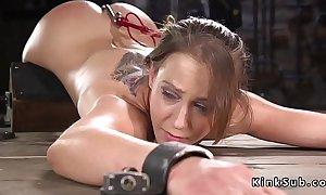 In device bondage slave fucked with dildo