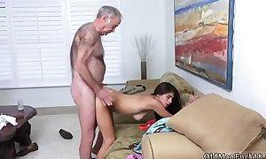 Daddy spanks and fucks chum' associate's daughter Poping Pils!