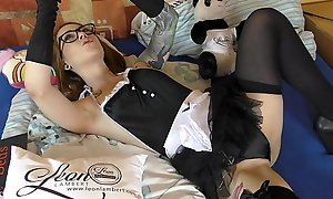 French Maid Sandra&acutes Atomic Girl Self Wedgie for the Big Tease Time