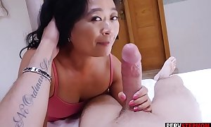 Asian cougar matured stepmom knows what is best of him