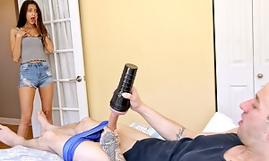 Stepsis catches her stepbro using a jack off sleeve and decides she wants to try using it on him also.