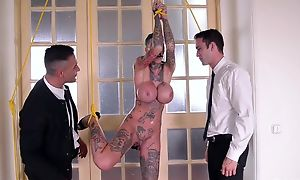 Short-haired skank with huge fake tits gets transcribe fucked