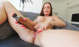 Frisky MILF with big honkers fucks herself with a huge gewgaw
