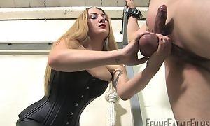 Blonde-haired bit of crumpet humiliates her personal slaveboy