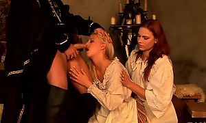 Insatiable redhead chick shares immutable restaurant check with her blonde friend