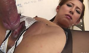 Japanese office infant gets fucked hard through the cleft relating to her panties
